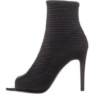 BCBG Quilted Peep-Toe Sock Boots Stilettos NEW